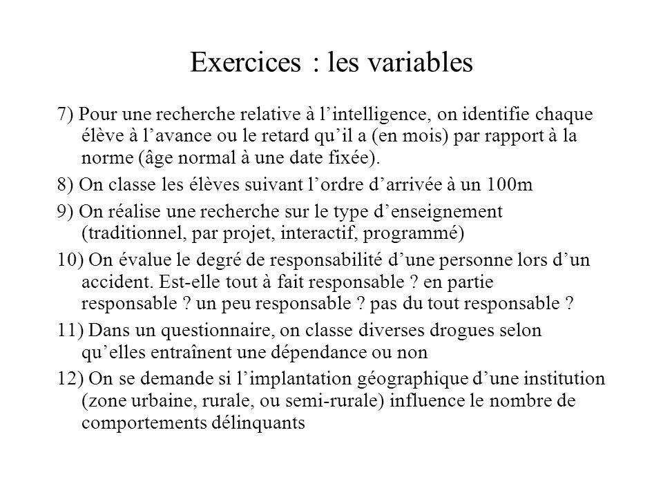 Exercices : les variables 7) Pour une recherche relative à l'intelligence, on identifie chaque élève à l'avance ou le retard qu'il a (en mois) par rap