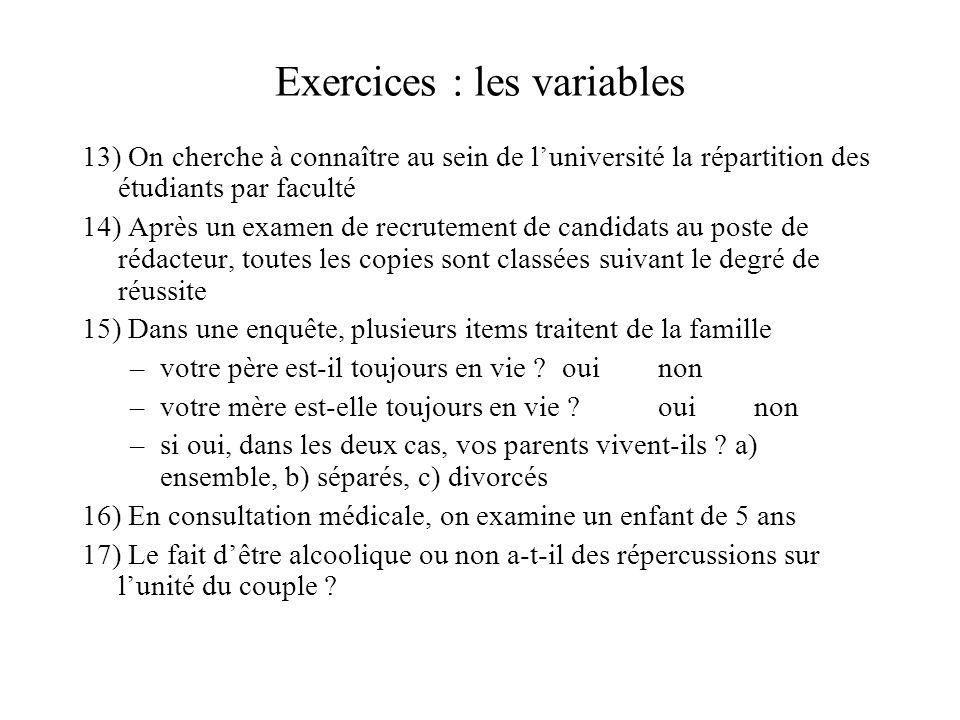 Exercices : les variables 13) On cherche à connaître au sein de l'université la répartition des étudiants par faculté 14) Après un examen de recruteme