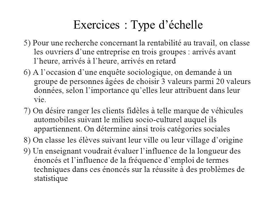 Exercices : Type d'échelle 5) Pour une recherche concernant la rentabilité au travail, on classe les ouvriers d'une entreprise en trois groupes : arri