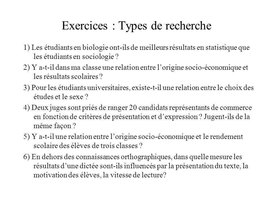Exercices : Types de recherche 1) Les étudiants en biologie ont-ils de meilleurs résultats en statistique que les étudiants en sociologie ? 2) Y a-t-i