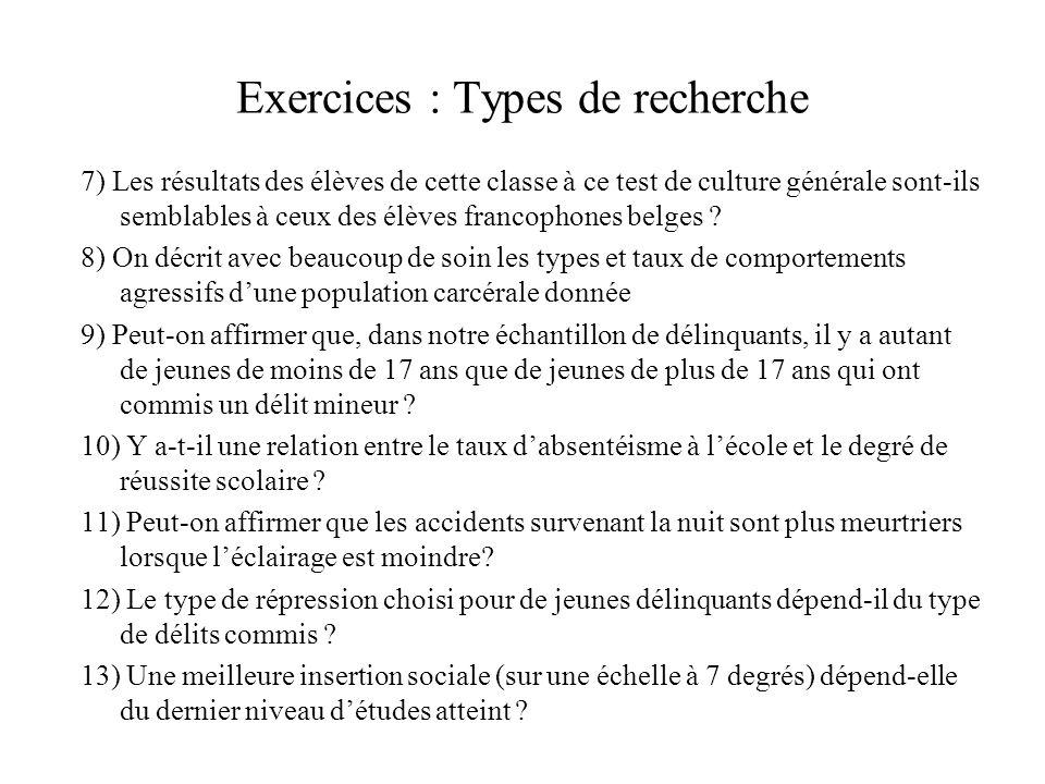 Exercices : Types de recherche 7) Les résultats des élèves de cette classe à ce test de culture générale sont-ils semblables à ceux des élèves francop