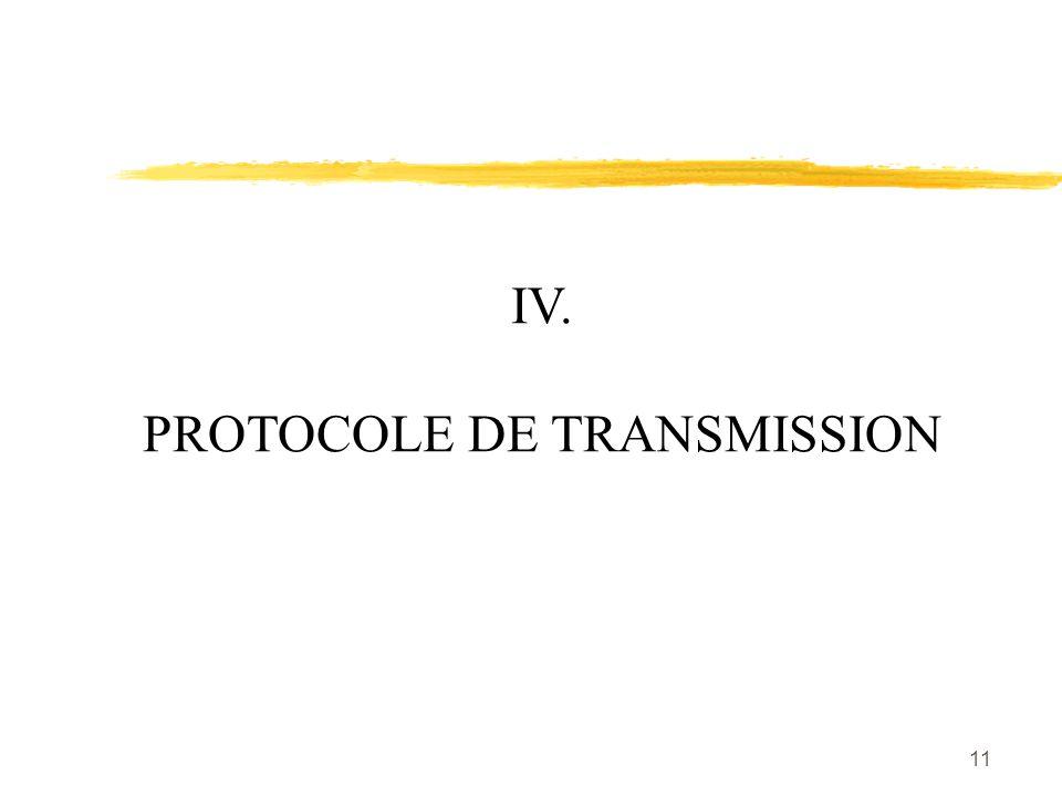 11 IV. PROTOCOLE DE TRANSMISSION