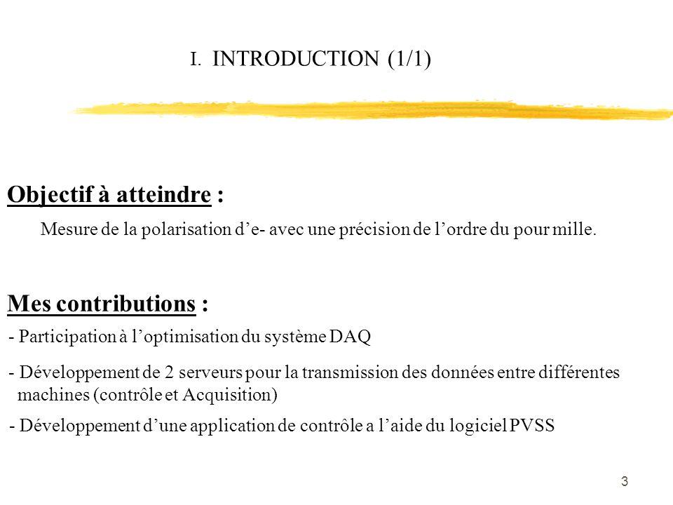 3 I. INTRODUCTION (1/1) Objectif à atteindre : Mesure de la polarisation d'e- avec une précision de l'ordre du pour mille. - Participation à l'optimis