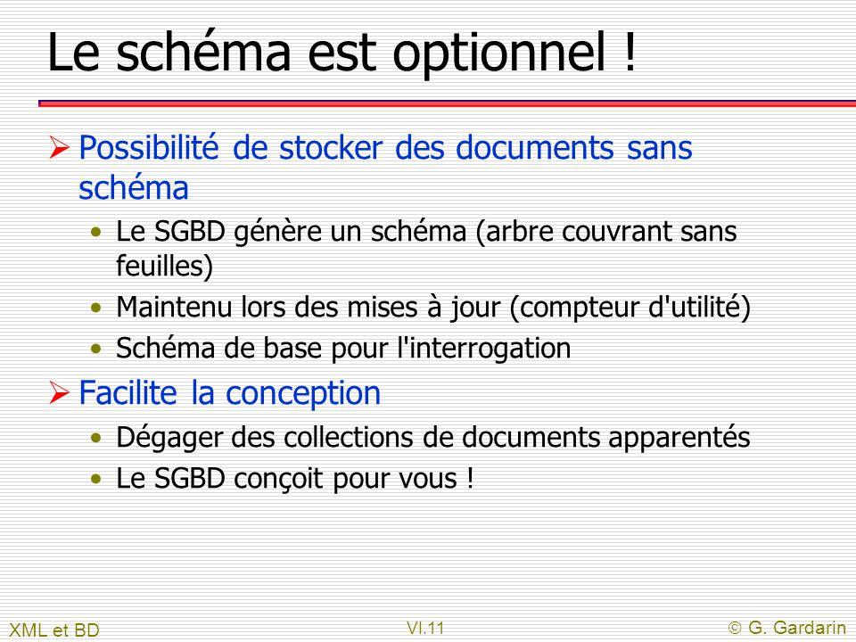 VI.11  G. Gardarin Le schéma est optionnel !  Possibilité de stocker des documents sans schéma Le SGBD génère un schéma (arbre couvrant sans feuille