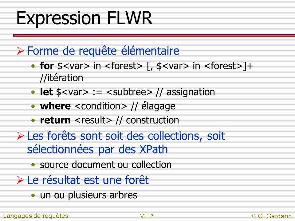 VI.17  G. Gardarin Expression FLWR  Forme de requête élémentaire for $ in [, $ in ]+ //itération let $ := // assignation where // élagage return //