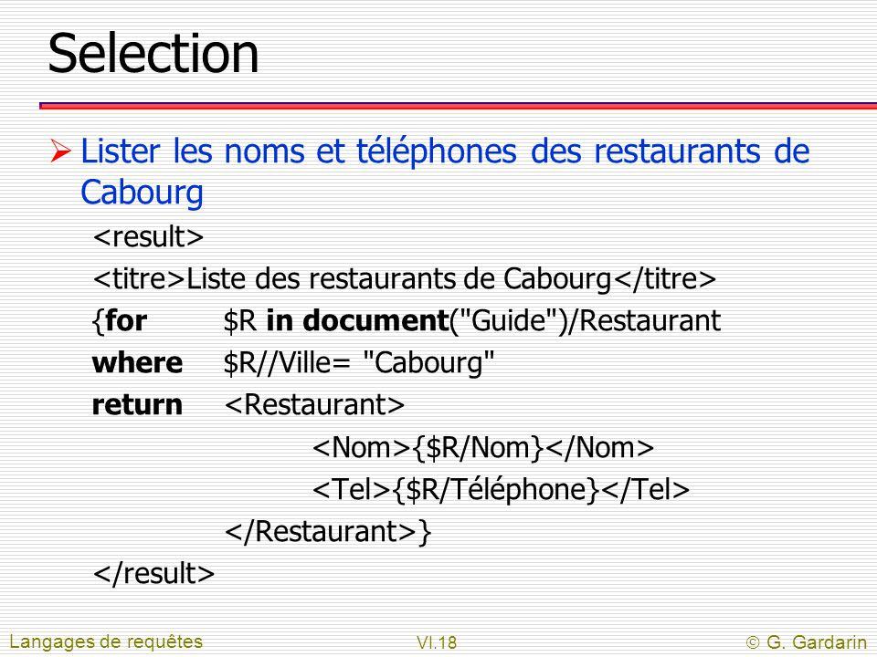 VI.18  G. Gardarin Selection  Lister les noms et téléphones des restaurants de Cabourg Liste des restaurants de Cabourg {for$R in document(