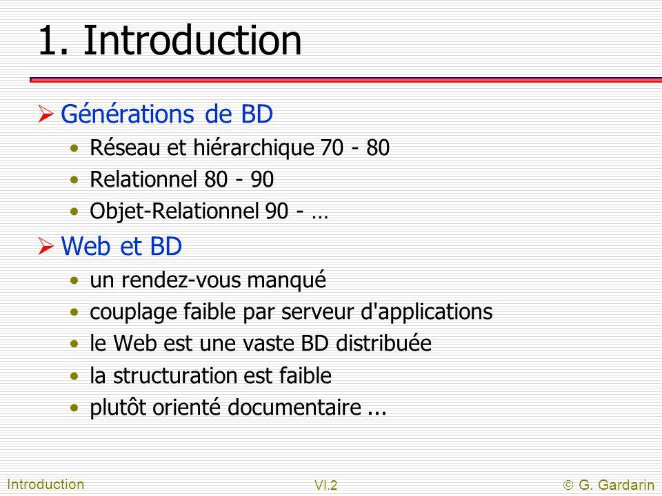 VI.2  G. Gardarin 1. Introduction  Générations de BD Réseau et hiérarchique 70 - 80 Relationnel 80 - 90 Objet-Relationnel 90 - …  Web et BD un rend