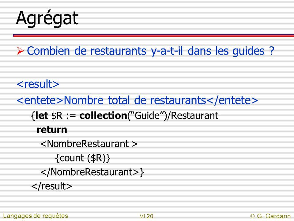 """VI.20  G. Gardarin Agrégat  Combien de restaurants y-a-t-il dans les guides ? Nombre total de restaurants {let $R := collection(""""Guide"""")/Restaurant"""