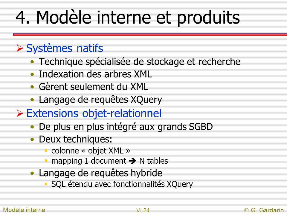 VI.24  G. Gardarin 4. Modèle interne et produits  Systèmes natifs Technique spécialisée de stockage et recherche Indexation des arbres XML Gèrent se