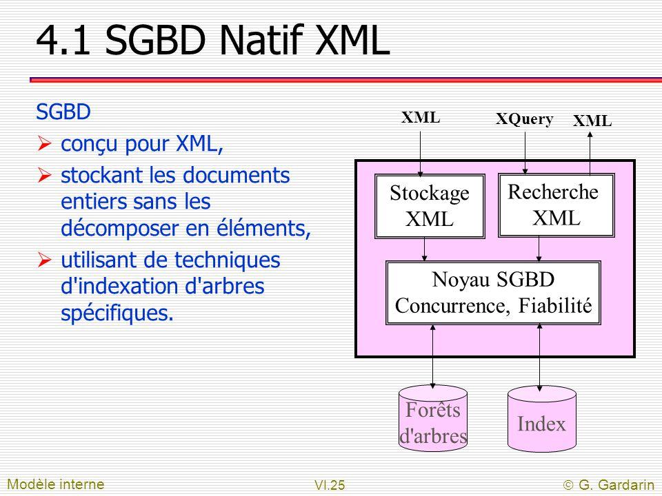 VI.25  G. Gardarin 4.1 SGBD Natif XML SGBD  conçu pour XML,  stockant les documents entiers sans les décomposer en éléments,  utilisant de techniq