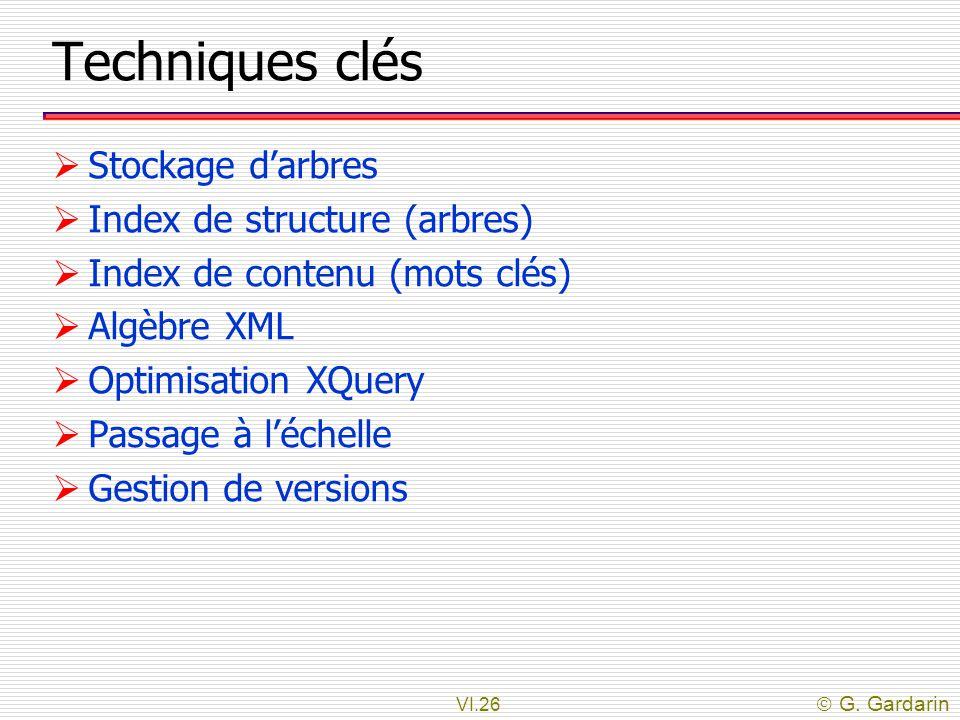 VI.26  G. Gardarin Techniques clés  Stockage d'arbres  Index de structure (arbres)  Index de contenu (mots clés)  Algèbre XML  Optimisation XQue
