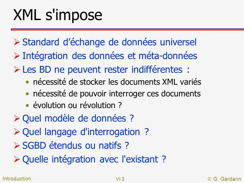 VI.3  G. Gardarin XML s'impose  Standard d'échange de données universel  Intégration des données et méta-données  Les BD ne peuvent rester indiffé