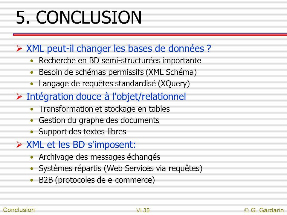 VI.35  G. Gardarin 5. CONCLUSION  XML peut-il changer les bases de données ? Recherche en BD semi-structurées importante Besoin de schémas permissif