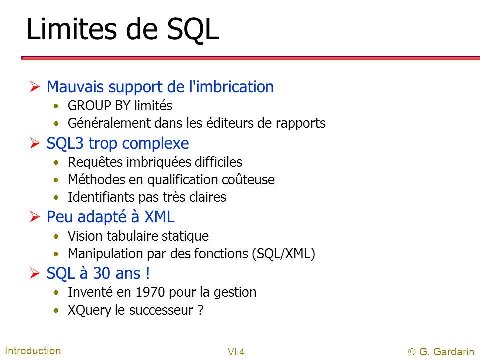 VI.4  G. Gardarin Limites de SQL  Mauvais support de l'imbrication GROUP BY limités Généralement dans les éditeurs de rapports  SQL3 trop complexe