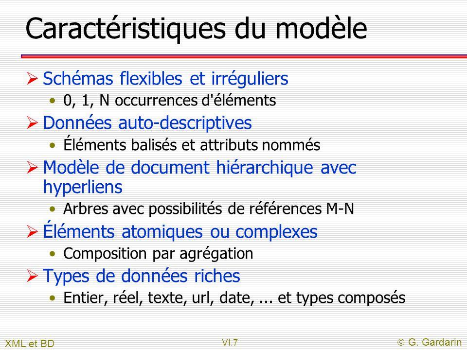 VI.7  G. Gardarin Caractéristiques du modèle  Schémas flexibles et irréguliers 0, 1, N occurrences d'éléments  Données auto-descriptives Éléments b