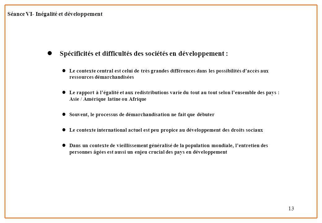 13 Séance VI- Inégalité et développement l Spécificités et difficultés des sociétés en développement : lLe contexte central est celui de très grandes