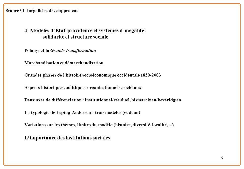 7 Séance VI- Inégalité et développement Inégalités et développement lQuestion du lien entre développement et inégalités lDéfinir le développement : 1.Niveau économique 2.Education 3.Santé 4.Libertés publiques, et démocratie 5.Egalité entre femmes et hommes 6.(Mortalité infantile – Natalité ?) lUne approche généralisée : le « développement humain » HDI / IDH du Programme des Nations Unies pour le Développement (PNUD) Bien-être matériel (PIB ajusté) + éducation + santé (espérance de vie)