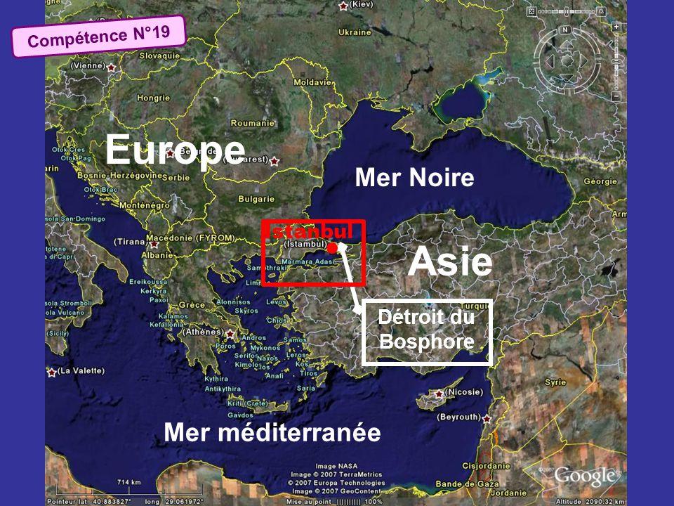 Mer Noire Asie Europe Mer méditerranée Détroit du Bosphore Istanbul Compétence N°19
