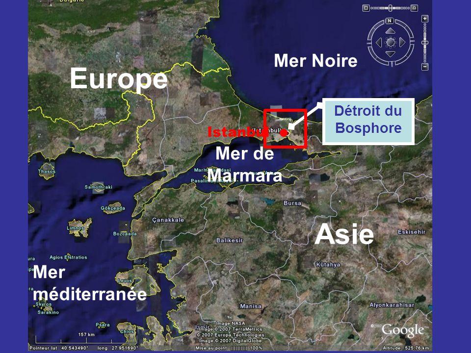 Mer Noire Asie Europe Mer méditerranée Détroit du Bosphore Mer de Marmara Istanbul