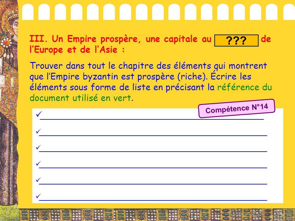 III. Un Empire prospère, une capitale au carrefour de l'Europe et de l'Asie : Trouver dans tout le chapitre des éléments qui montrent que l'Empire byz