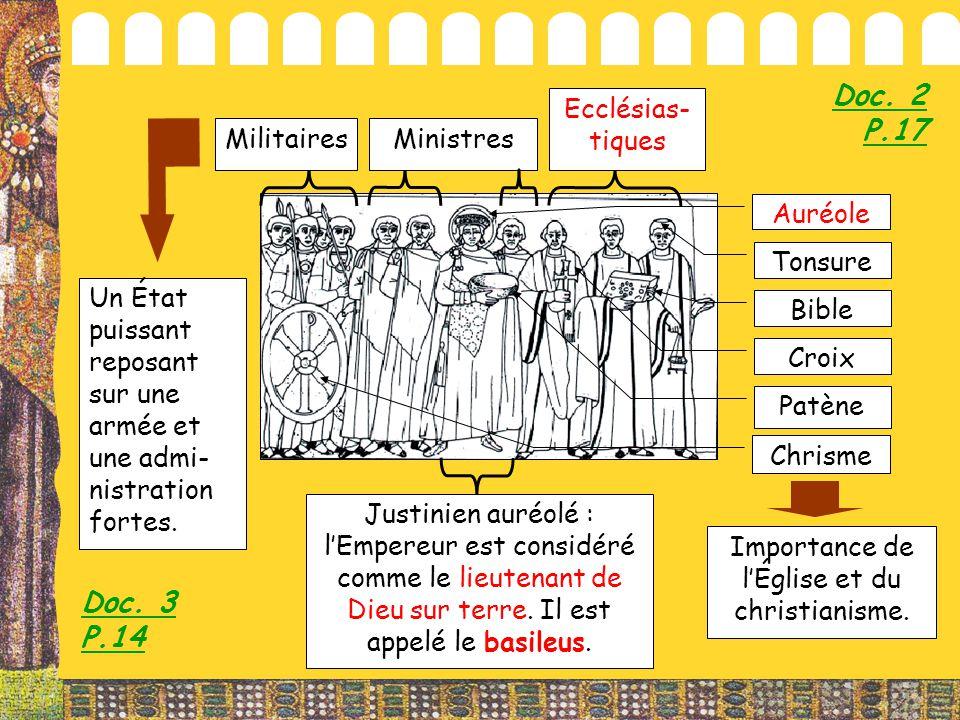 MilitairesMinistres Ecclésias- tiques Patène Croix Bible Tonsure Justinien auréolé : l'Empereur est considéré comme le lieutenant de Dieu sur terre. I