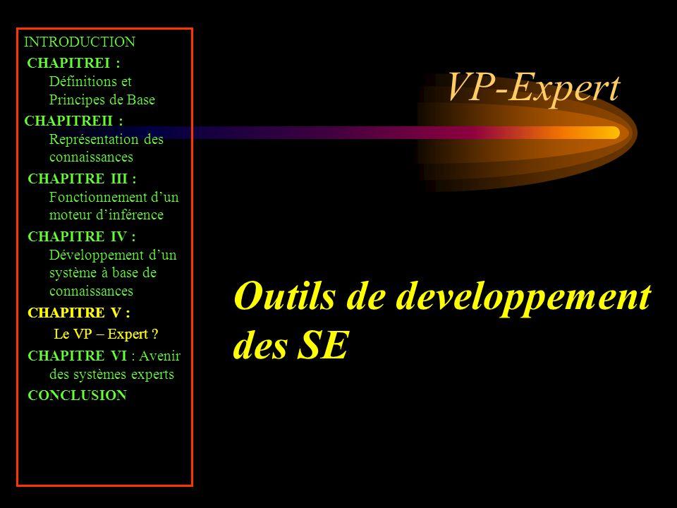VP-Expert INTRODUCTION CHAPITREI : Définitions et Principes de Base CHAPITREII : Représentation des connaissances CHAPITRE III : Fonctionnement d'un m