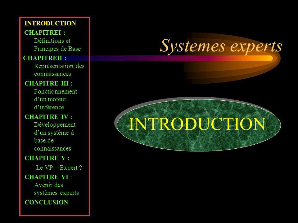 Definitions et Principes de Base INTRODUCTION CHAPITREI : Définitions et Principes de Base CHAPITREII : Représentation des connaissances CHAPITRE III : Fonctionnement d'un moteur d'inférence CHAPITRE IV : Développement d'un système à base de connaissances CHAPITRE V : Le VP – Expert .