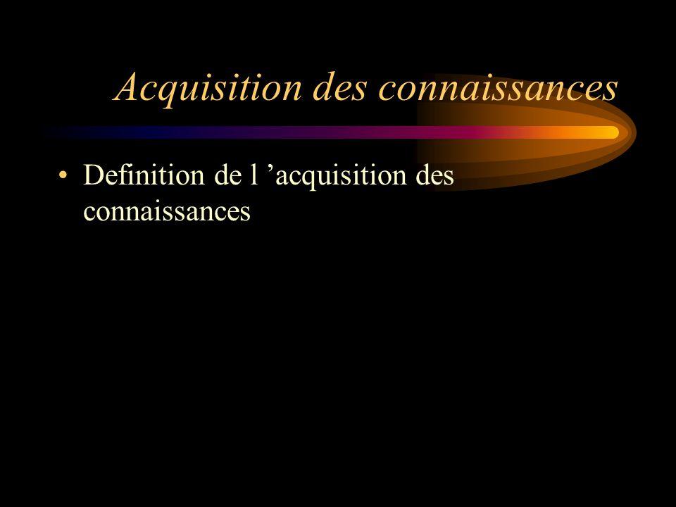 Acquisition des connaissances Definition de l 'acquisition des connaissances