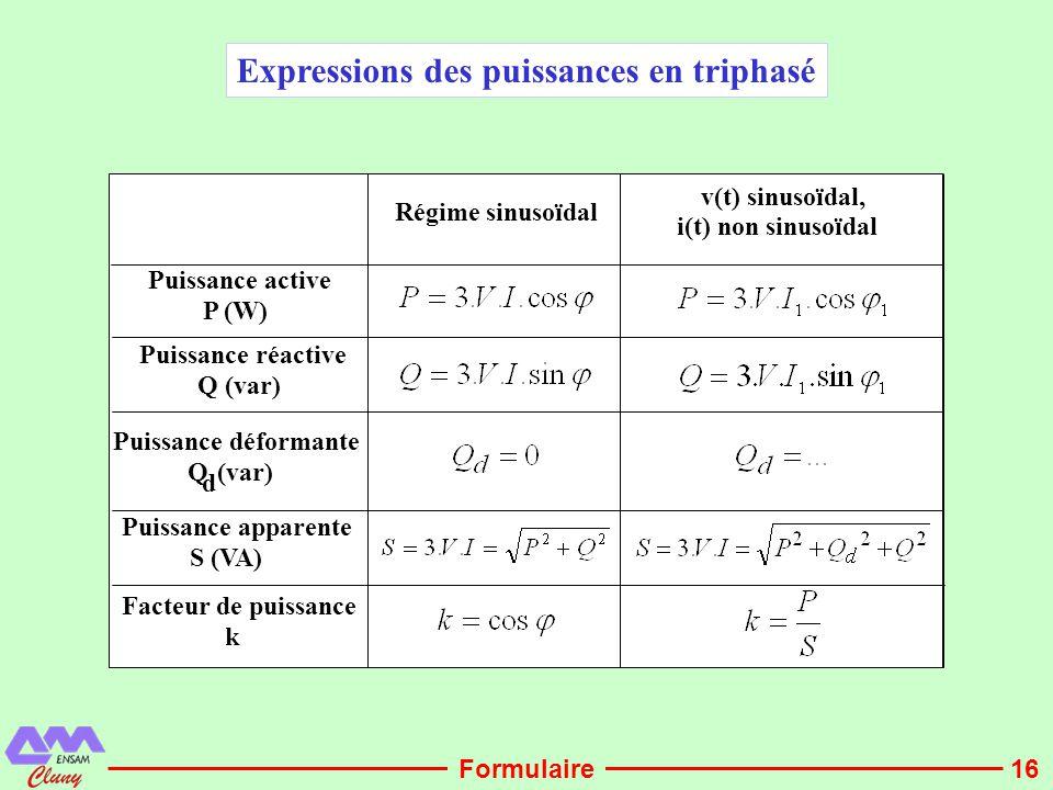 16 Expressions des puissances en triphasé Régime sinusoïdal v(t) sinusoïdal, i(t) non sinusoïdal Puissance active P (W) Puissance réactive Q (var) Pui
