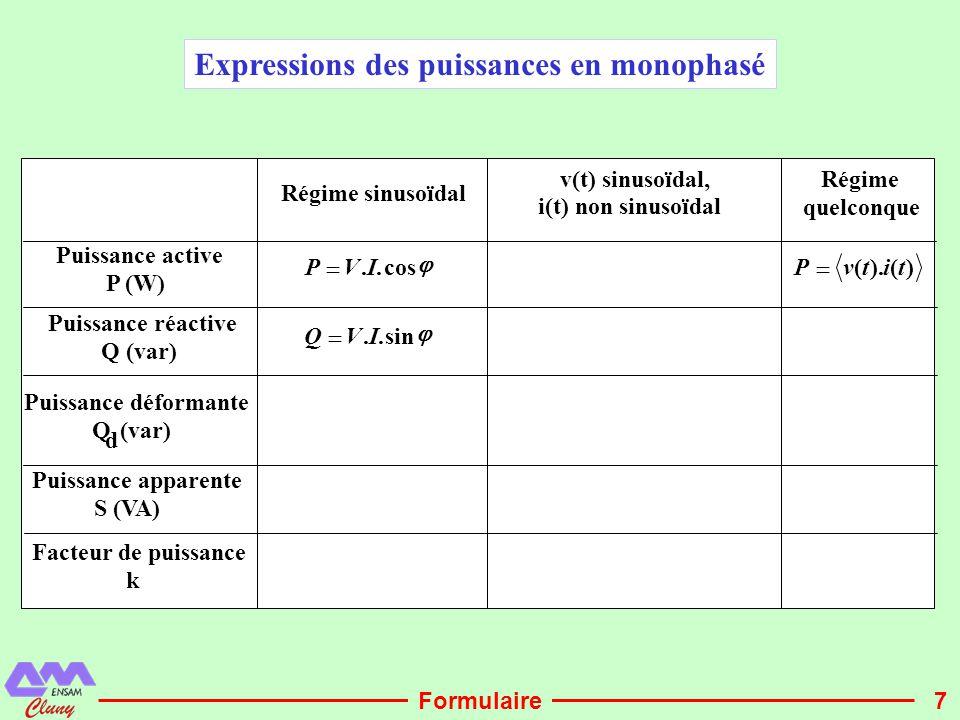7 Régime sinusoïdal v(t) sinusoïdal, i(t) non sinusoïdal Régime quelconque Puissance active P (W)  cos..IVP  )().(titvP  Puissance réactive Q (var)