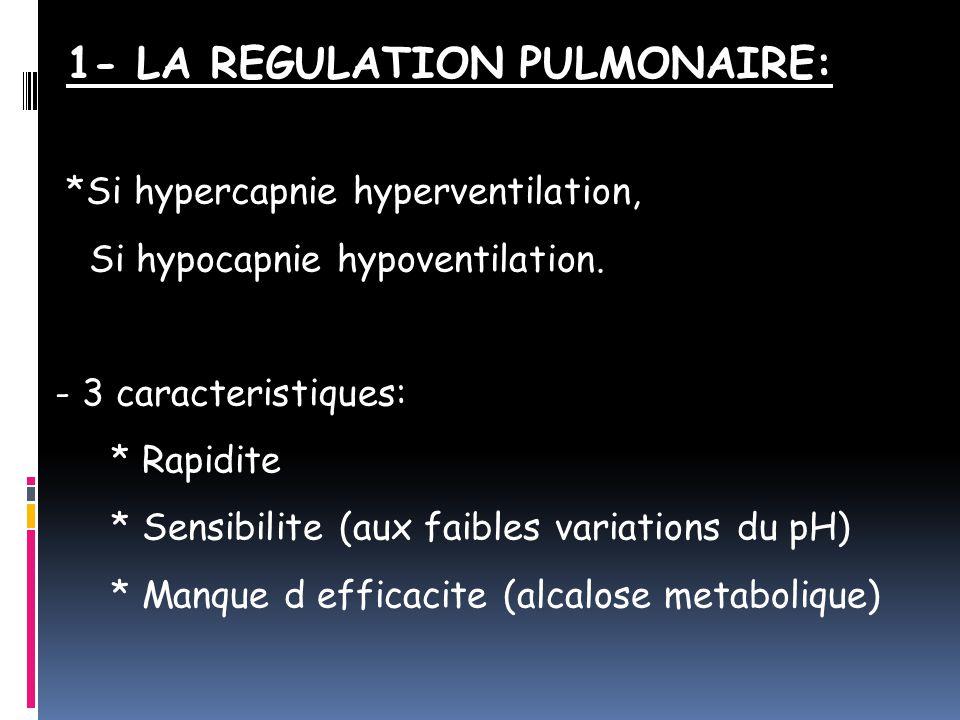 1- LA REGULATION PULMONAIRE: *Si hypercapnie hyperventilation, Si hypocapnie hypoventilation.