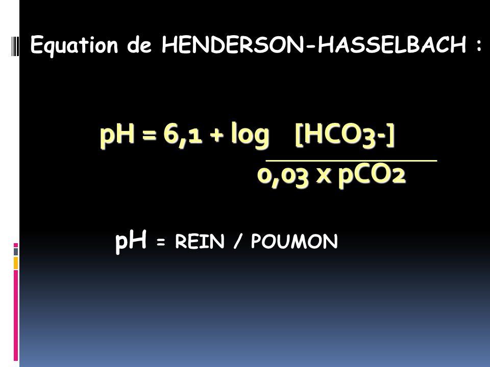 pH = 6,1 + log [HCO3-] 0,03 x pCO2 0,03 x pCO2 pH = REIN / POUMON Equation de HENDERSON-HASSELBACH :