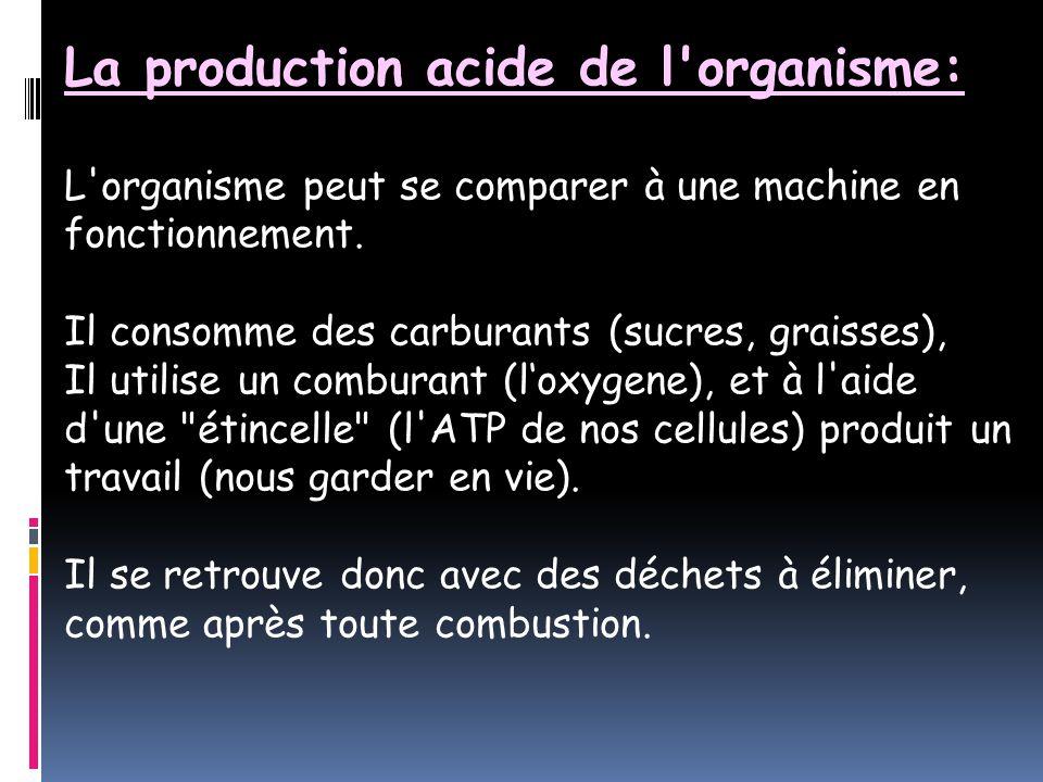 La production acide de l organisme: L organisme peut se comparer à une machine en fonctionnement.