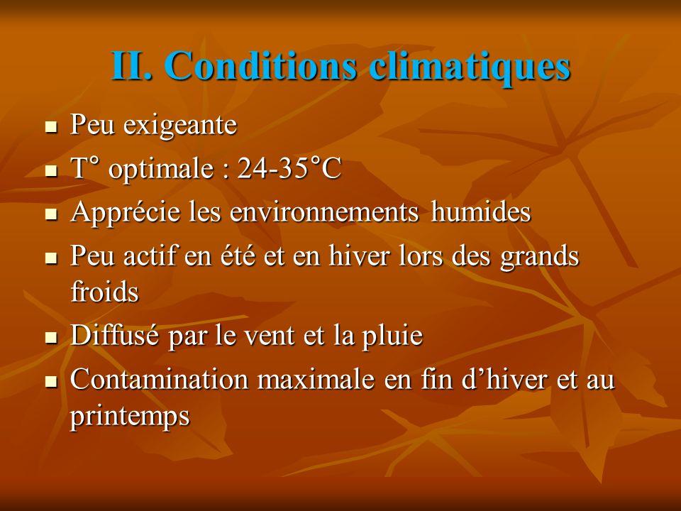 II. Conditions climatiques Peu exigeante Peu exigeante T° optimale : 24-35°C T° optimale : 24-35°C Apprécie les environnements humides Apprécie les en