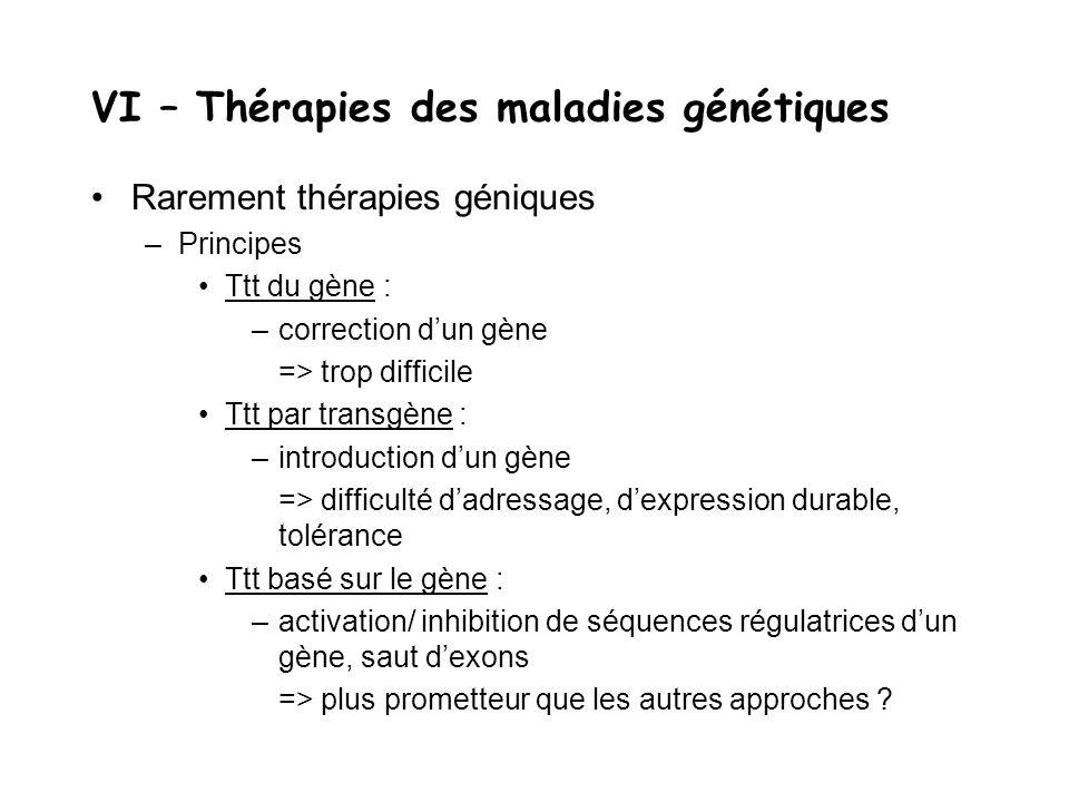 VI – Thérapies des maladies génétiques Rarement thérapies géniques –Principes Ttt du gène : –correction d'un gène => trop difficile Ttt par transgène