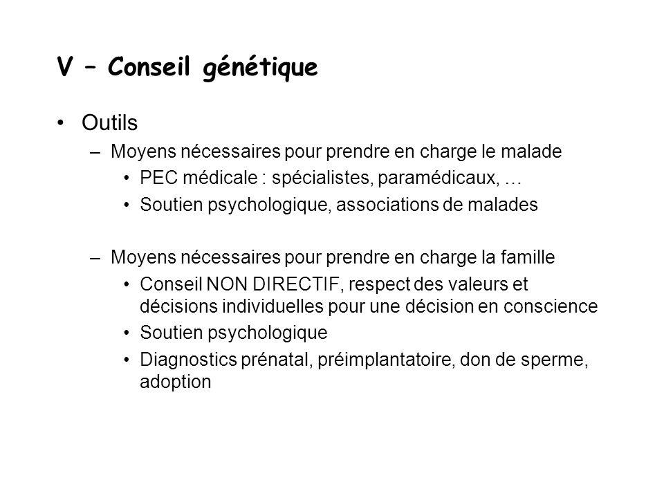 V – Conseil génétique Outils –Moyens nécessaires pour prendre en charge le malade PEC médicale : spécialistes, paramédicaux, … Soutien psychologique,