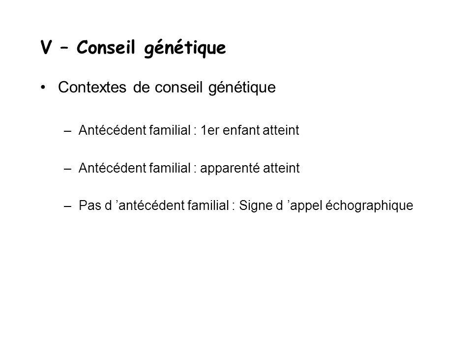 V – Conseil génétique Contextes de conseil génétique –Antécédent familial : 1er enfant atteint –Antécédent familial : apparenté atteint –Pas d 'antécé