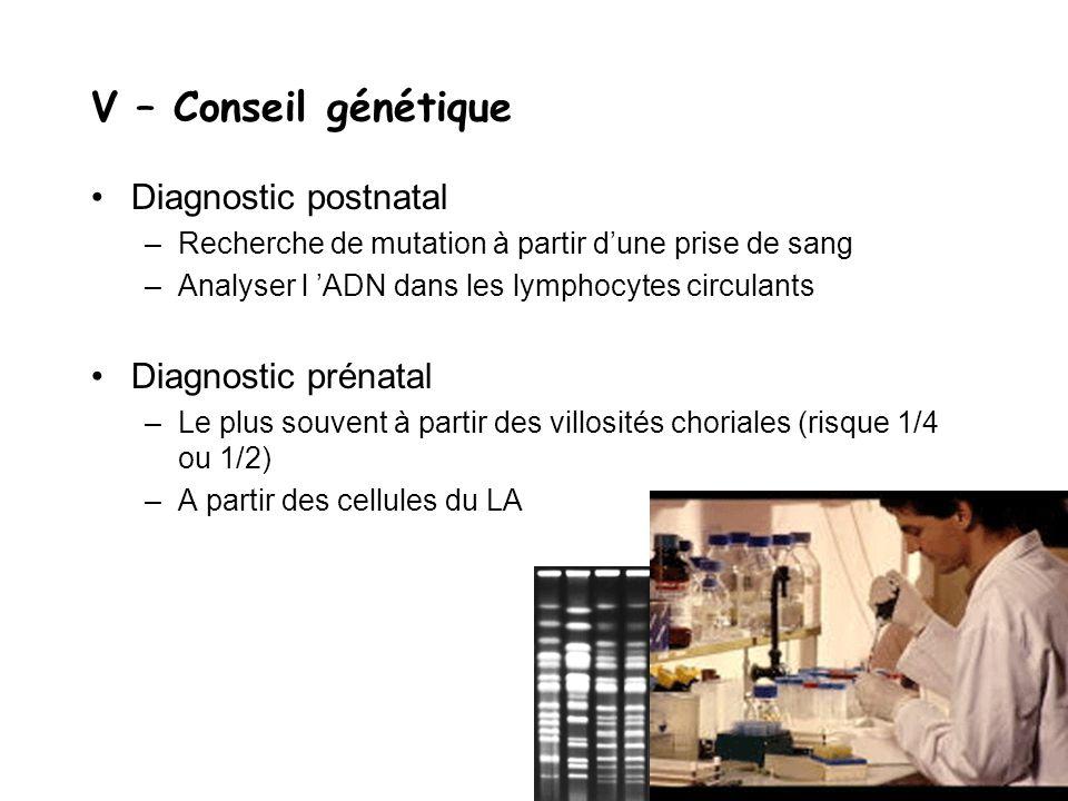 V – Conseil génétique Diagnostic postnatal –Recherche de mutation à partir d'une prise de sang –Analyser l 'ADN dans les lymphocytes circulants Diagno