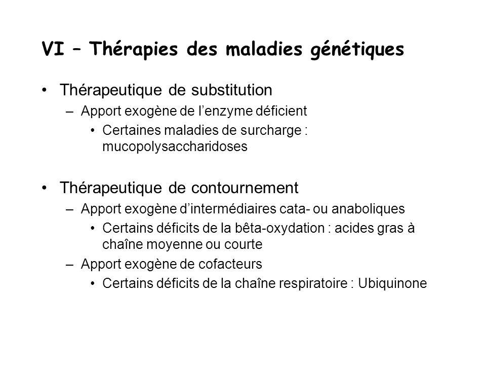 VI – Thérapies des maladies génétiques Thérapeutique de substitution –Apport exogène de l'enzyme déficient Certaines maladies de surcharge : mucopolys