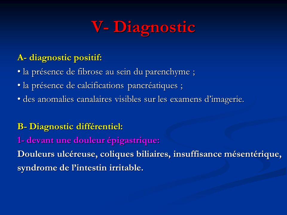 A- diagnostic positif: la présence de fibrose au sein du parenchyme ; la présence de fibrose au sein du parenchyme ; la présence de calcifications pan