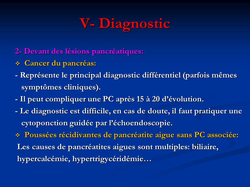 2- Devant des lésions pancréatiques:  Cancer du pancréas: - Représente le principal diagnostic différentiel (parfois mêmes symptômes cliniques). symp