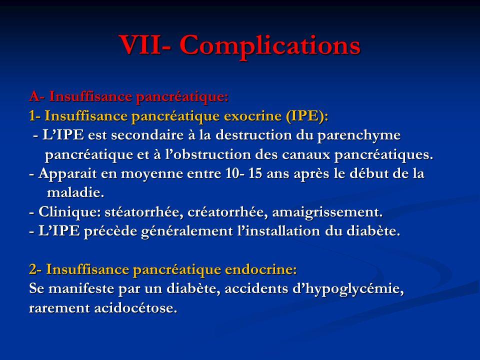 VII- Complications A- Insuffisance pancréatique: 1- Insuffisance pancréatique exocrine (IPE): - L'IPE est secondaire à la destruction du parenchyme -