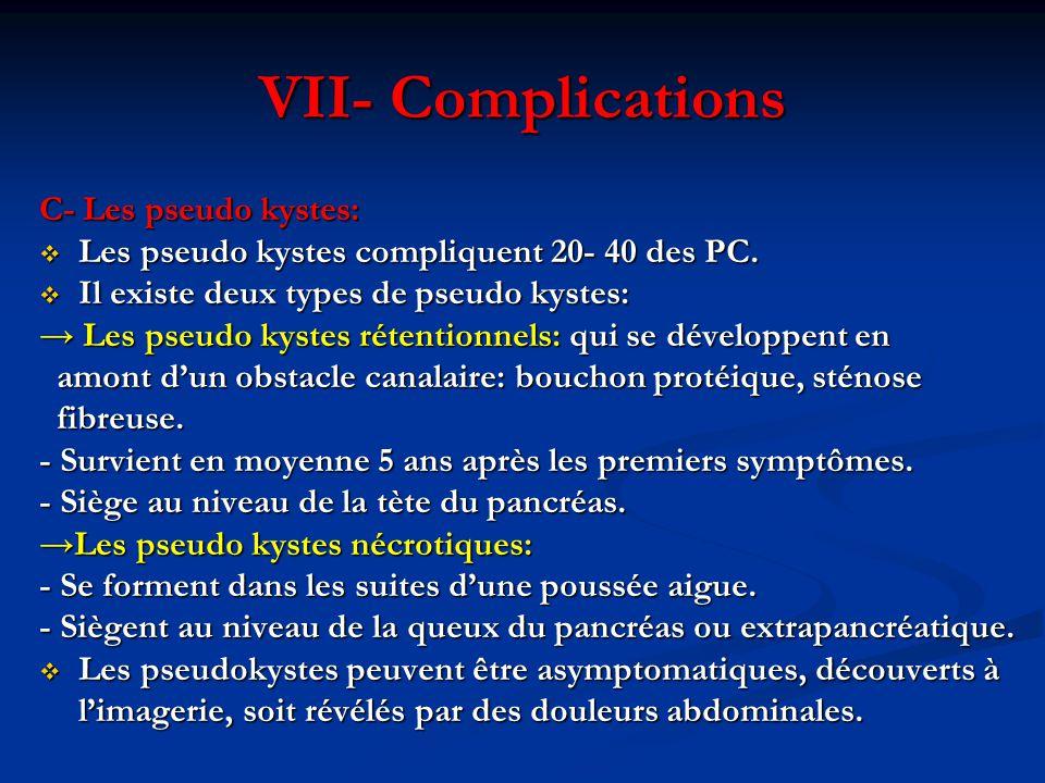 VII- Complications C- Les pseudo kystes:  Les pseudo kystes compliquent 20- 40 des PC.  Il existe deux types de pseudo kystes: → Les pseudo kystes r