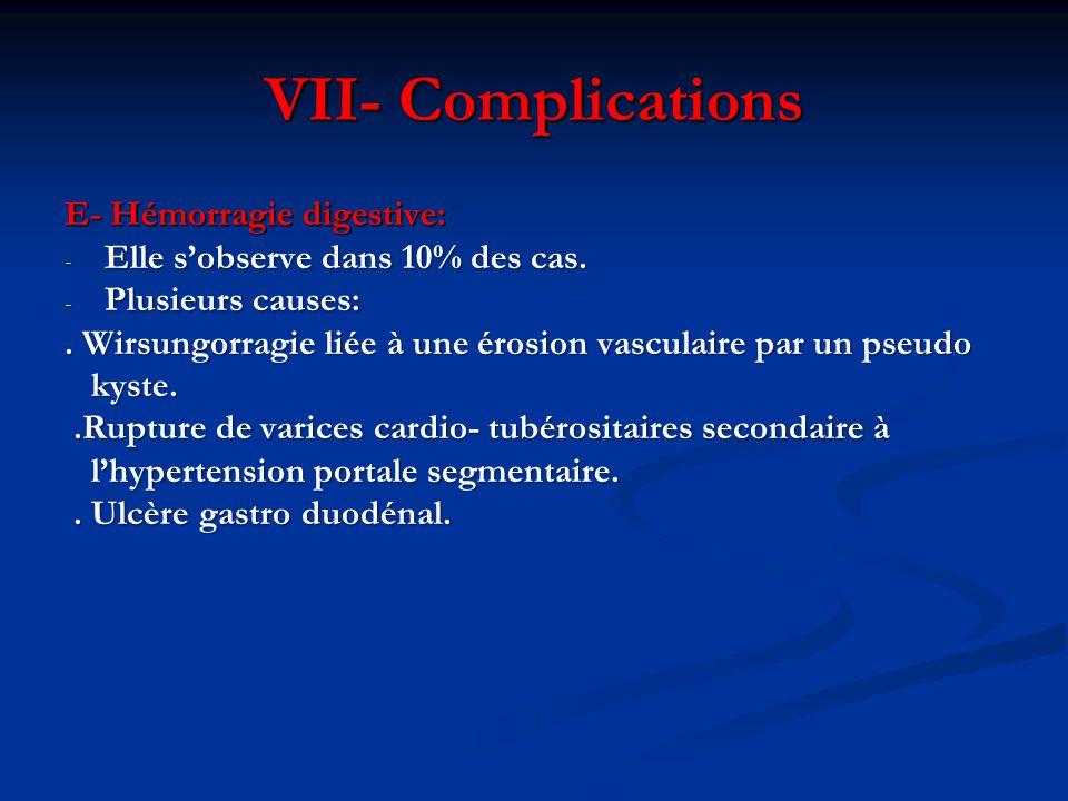 VII- Complications E- Hémorragie digestive: - Elle s'observe dans 10% des cas. - Plusieurs causes:. Wirsungorragie liée à une érosion vasculaire par u