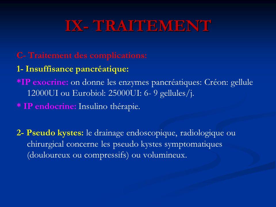 C- Traitement des complications: 1- Insuffisance pancréatique: *IP exocrine: on donne les enzymes pancréatiques: Créon: gellule 12000UI ou Eurobiol: 2