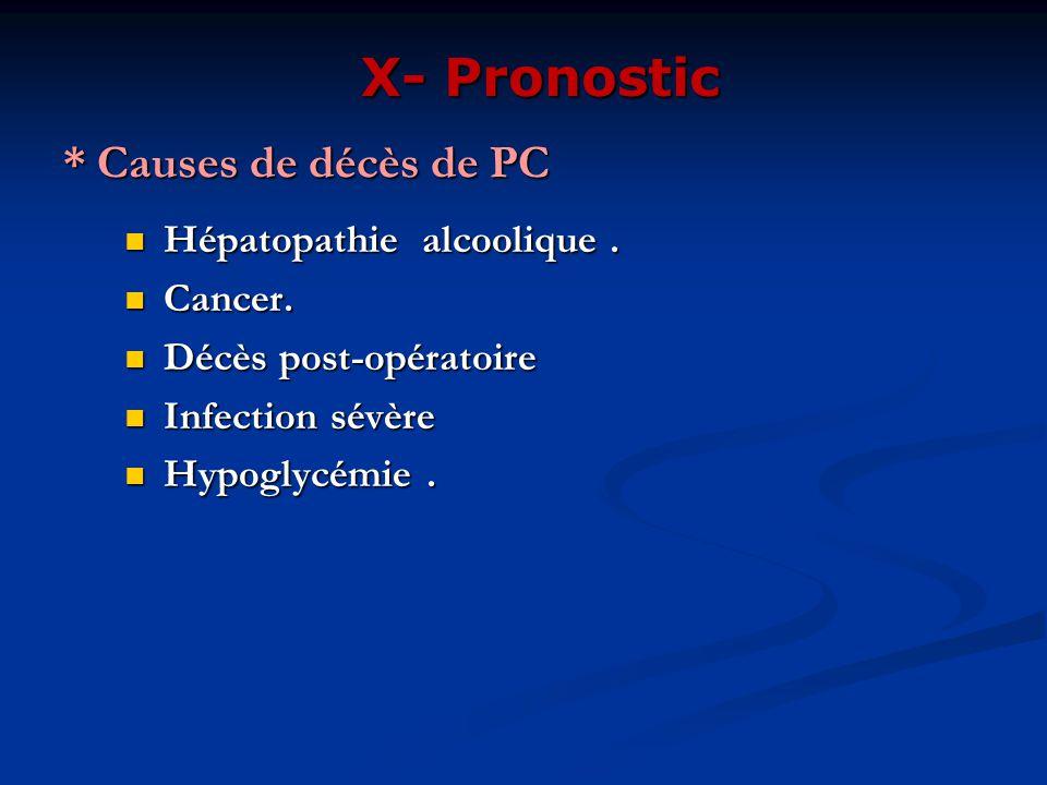 * Causes de décès de PC Hépatopathie alcoolique. Hépatopathie alcoolique. Cancer. Cancer. Décès post-opératoire Décès post-opératoire Infection sévère
