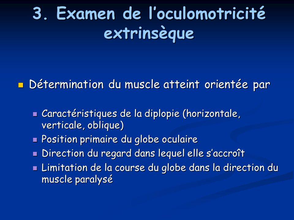 3. Examen de l'oculomotricité extrinsèque Détermination du muscle atteint orientée par Détermination du muscle atteint orientée par Caractéristiques d