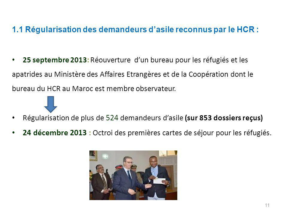 1.1 Régularisation des demandeurs d'asile reconnus par le HCR : 25 septembre 2013: Réouverture d'un bureau pour les réfugiés et les apatrides au Ministère des Affaires Etrangères et de la Coopération dont le bureau du HCR au Maroc est membre observateur.