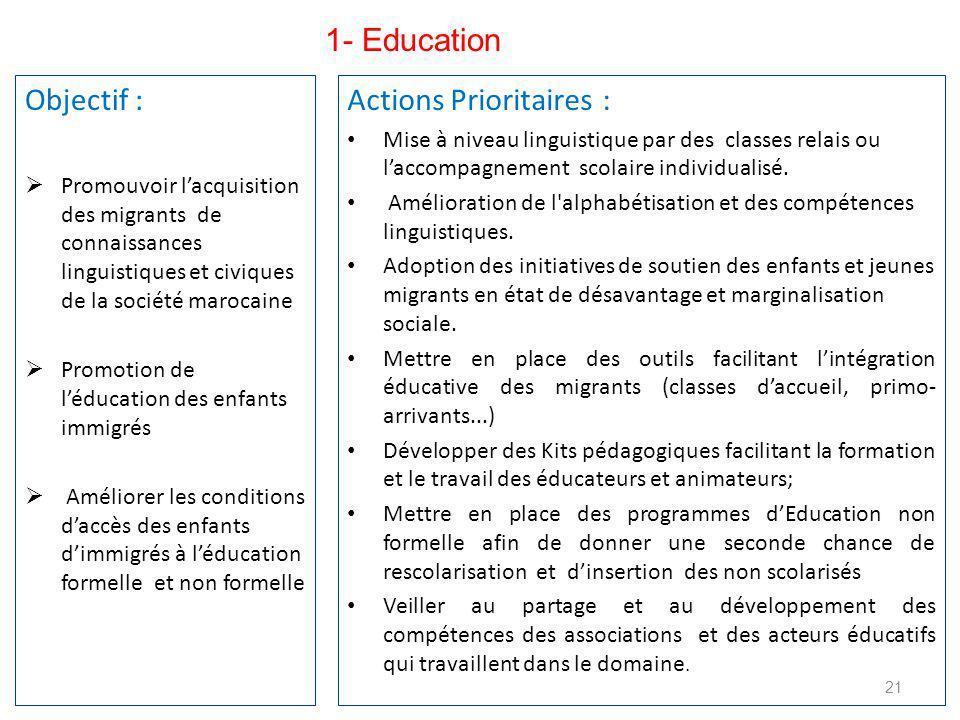 Objectif :  Promouvoir l'acquisition des migrants de connaissances linguistiques et civiques de la société marocaine  Promotion de l'éducation des enfants immigrés  Améliorer les conditions d'accès des enfants d'immigrés à l'éducation formelle et non formelle 21 Actions Prioritaires : Mise à niveau linguistique par des classes relais ou l'accompagnement scolaire individualisé.