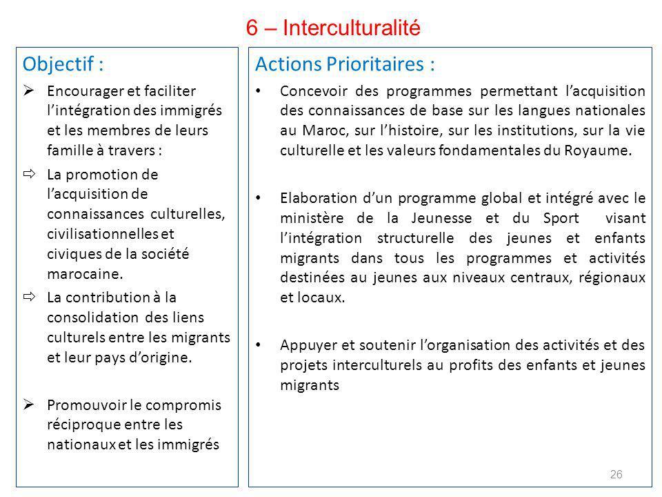 Objectif :  Encourager et faciliter l'intégration des immigrés et les membres de leurs famille à travers :  La promotion de l'acquisition de connaissances culturelles, civilisationnelles et civiques de la société marocaine.